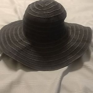 Black Striped Large Rimmed Hat